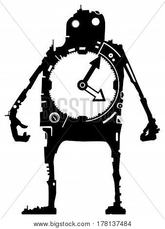 Clock cartoon character black silhouette, vector illustration, vertical, isolated, over white