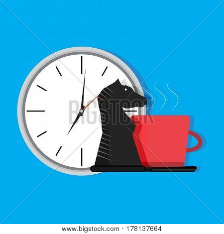 Strategy of time. Executive and time breakfast and management vector illustration