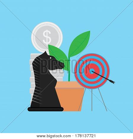 Strategy for achieving goal. Accurate in dartboard aspiration metaphor vector illustration