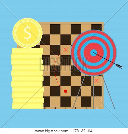 Finance strategy to goal. Target ande chess board goal business. Vector illustration
