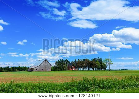 Farmland in rural Prince Edward Island, Canada..