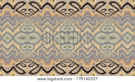Kaleidoscopic beige seamless pattern is computer graphics and it can be used in the design of textiles in the printing industry in a variety of design projects.