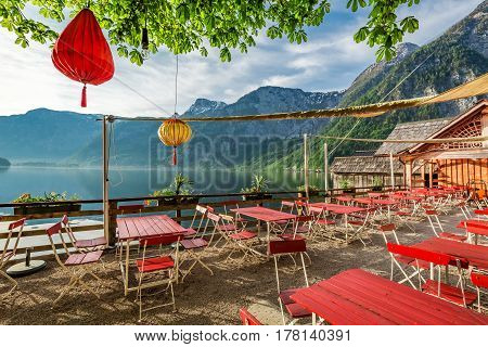 Small Restaurant By A Lake In Hallstatt, Alps, Austria, Europe