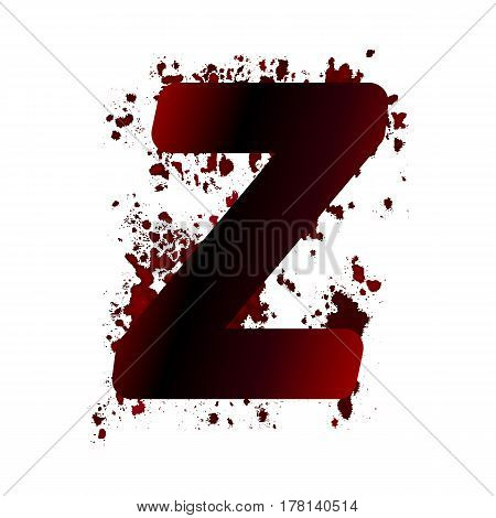 Dirty Bloody Letter Z With Spots. Grunge Alphabet. Scary Letters For Halloween