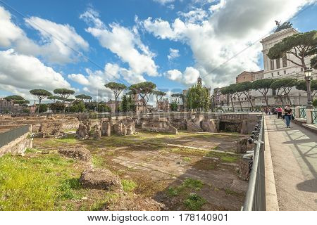 Rome, Italy - May 12, 2016: The famous ruins of the Trajan's Forum, Foro di Traiano, in Rome, Lazio, Italy.