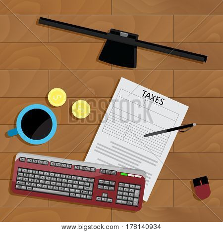 Tax top view. Taxation and accounting balance account and monitor vector concept calculation tax illustration