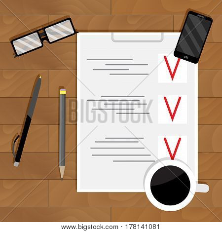 Checklist plan and organization. Analysis project document page wooden table and paperwork vector illustration