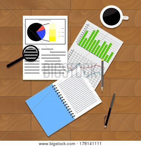 Analysis of statistics vector. Top view rofessional report statistic and forecast illustration