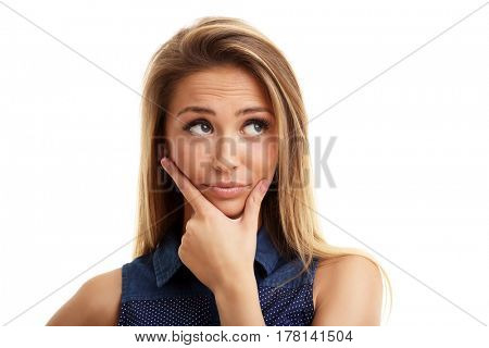 Portrait of adult woman isolated over white background