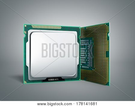Central Computer Processors Cpu High Resolution 3D Illustration On Grey