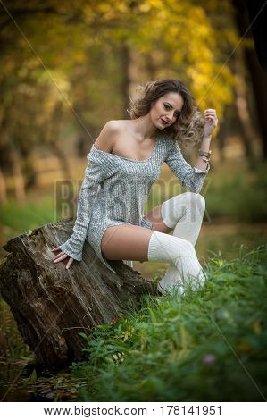 sensual girl with long legs sitting on a stump in an autumnal scene.Long legs attractive blonde with curly hair relaxing in autumnal park.Fashionable young woman posing on a stump in the forest.