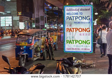 Bangkok Thailand - March 2 2017 : Patpong night market on silom road internationally tourist popular visited to Patpong known as a red light district at the heart of Bangkok's sex industry.