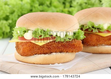 Fish Burger Fishburger Hamburger Tomatoes Cheese