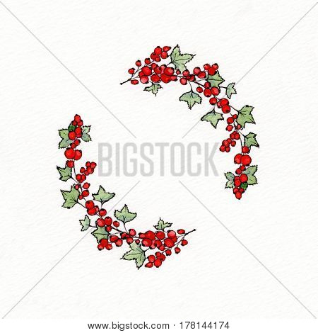 Wreath with graphic leaves and redcurrants. Used for wedding invitation greeting cards