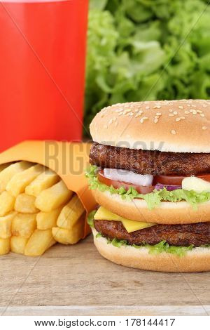 Double Burger Hamburger And Fries Menu Meal Combo Fast Food Drink