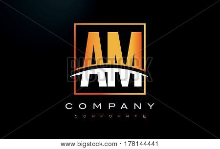 Am A M Golden Letter Logo Design With Gold Square And Swoosh.