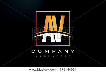 Av A V Golden Letter Logo Design With Gold Square And Swoosh.