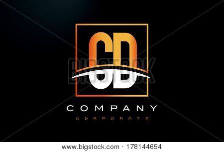 Cd C D Golden Letter Logo Design With Gold Square And Swoosh.