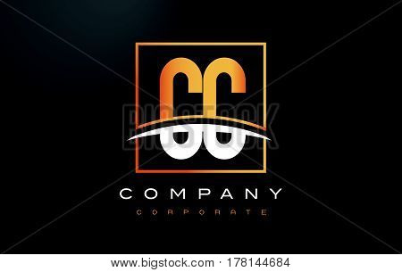 Cc C C Golden Letter Logo Design With Gold Square And Swoosh.