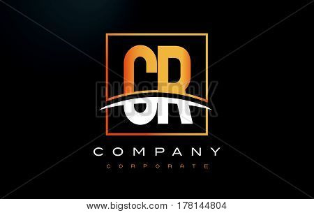 Cr C R Golden Letter Logo Design With Gold Square And Swoosh.