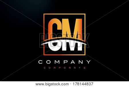 Cm C M Golden Letter Logo Design With Gold Square And Swoosh.