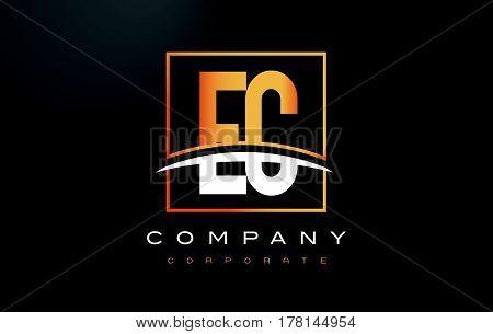 EC E C Golden Letter Logo Design with Swoosh and Rectangle Square Box Vector Design. poster