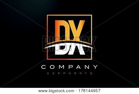 Dx D X Golden Letter Logo Design With Gold Square And Swoosh.