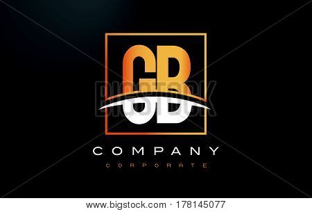 Gb G B Golden Letter Logo Design With Gold Square And Swoosh.