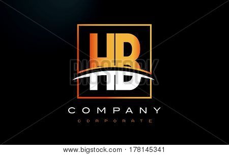 Hb H B Golden Letter Logo Design With Gold Square And Swoosh.