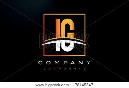 Ig I Q Golden Letter Logo Design With Gold Square And Swoosh.