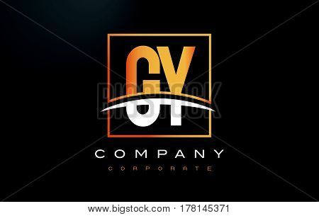 GY G Y Golden Letter Logo Design with Swoosh and Rectangle Square Box Vector Design. poster