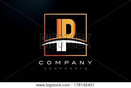 Ip I P Golden Letter Logo Design With Gold Square And Swoosh.