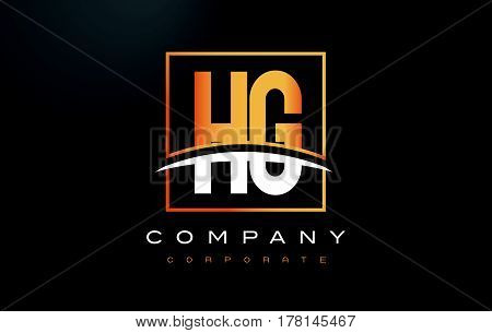 Hg H G Golden Letter Logo Design With Gold Square And Swoosh.
