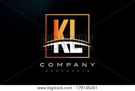 Kl K L Golden Letter Logo Design With Gold Square And Swoosh.