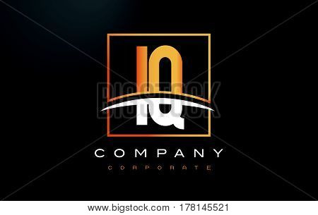 Iq I Q Golden Letter Logo Design With Gold Square And Swoosh.
