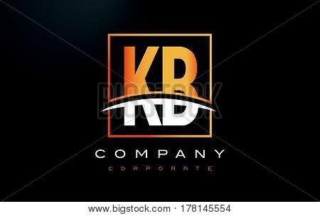 Kb K B Golden Letter Logo Design With Gold Square And Swoosh.