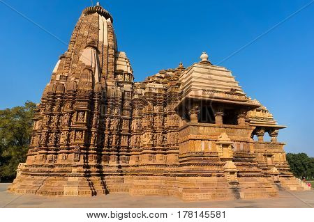 Famous Indian Tourist Landmark - Kandariya Mahadev Temple, Khajuraho, India.