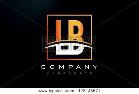 Lb L B Golden Letter Logo Design With Gold Square And Swoosh.