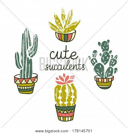 Vector Cactus hand-drawn poster. Grunge silhouette print linocuts. Cacti isolated on the white background. Grunge design with potted cacti and succulents.