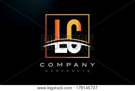 Lc L C Golden Letter Logo Design With Gold Square And Swoosh.