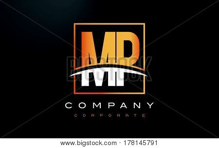 Mp M P Golden Letter Logo Design With Gold Square And Swoosh.