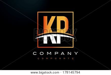 KP K P Golden Letter Logo Design with Swoosh and Rectangle Square Box Vector Design. poster