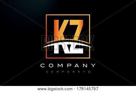 Kz K Z Golden Letter Logo Design With Gold Square And Swoosh.