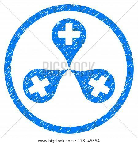 Hospital Map Markers grainy textured icon inside circle for overlay watermark stamps. Flat symbol with dust texture.