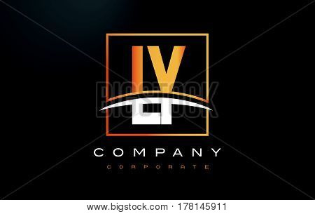 Ly L Y Golden Letter Logo Design With Gold Square And Swoosh.