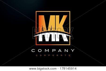 Mk M K Golden Letter Logo Design With Gold Square And Swoosh.