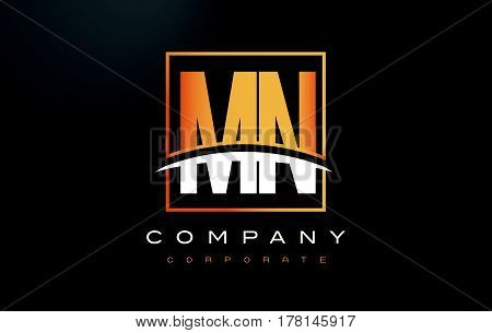 Mn M N Golden Letter Logo Design With Gold Square And Swoosh.