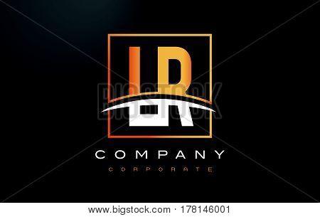 Lr L R Golden Letter Logo Design With Gold Square And Swoosh.