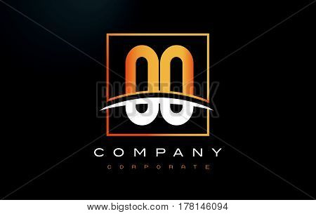Oo O Golden Letter Logo Design With Gold Square And Swoosh.