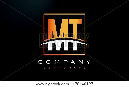 Mt M T Golden Letter Logo Design With Gold Square And Swoosh.